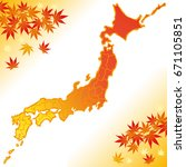 japan map with autumn leaves. | Shutterstock .eps vector #671105851