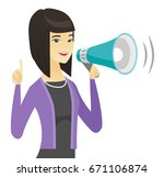 young asian business woman with ... | Shutterstock .eps vector #671106874