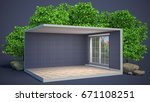 interior with large window. 3d... | Shutterstock . vector #671108251