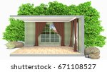 interior with large window. 3d... | Shutterstock . vector #671108527