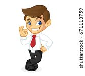 businessman leaning and smiling ... | Shutterstock .eps vector #671113759