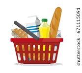 red plastic shopping basket... | Shutterstock .eps vector #671115091