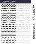 vector big set of seamless wavy ... | Shutterstock .eps vector #671120779