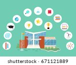 set of school icons. school... | Shutterstock . vector #671121889