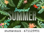 bright tropical design with... | Shutterstock .eps vector #671125951