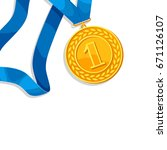 realistic gold medal for first... | Shutterstock .eps vector #671126107