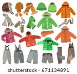 collection of winter children's ... | Shutterstock .eps vector #671134891