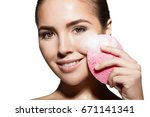 close up of a girl cleanses the ... | Shutterstock . vector #671141341