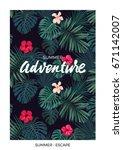 tropical vector postcard design ...   Shutterstock .eps vector #671142007