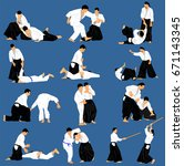 fight between two aikido... | Shutterstock .eps vector #671143345