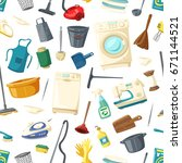 home cleaning  cooking and... | Shutterstock .eps vector #671144521