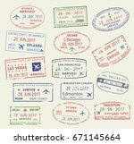 passport travel stamps icons... | Shutterstock .eps vector #671145664