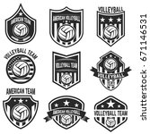 american volleyball team labels.... | Shutterstock .eps vector #671146531