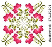 floral background in ukrainian... | Shutterstock .eps vector #671152801