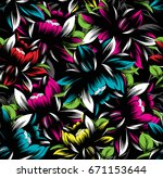 seamless abstract floral neon... | Shutterstock .eps vector #671153644