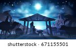 christmas christian nativity... | Shutterstock . vector #671155501