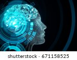 abstract blue digital human... | Shutterstock . vector #671158525