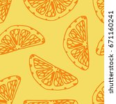 seamless pattern with orange... | Shutterstock .eps vector #671160241