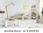 white hand made pallet table... | Shutterstock . vector #671160535