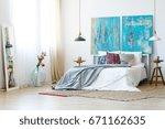 metallic bedside lamps in... | Shutterstock . vector #671162635