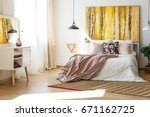 nice and stylish bedroom in...   Shutterstock . vector #671162725