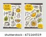 vegan catering brochure flyer... | Shutterstock .eps vector #671164519