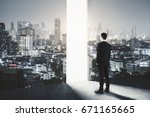 side view of young businessman... | Shutterstock . vector #671165665