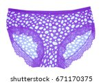 beautiful female purple panties ...   Shutterstock . vector #671170375
