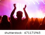 party people enjoy concert at... | Shutterstock . vector #671171965