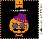 pumpkin having mustache put on...   Shutterstock .eps vector #671172535