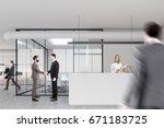 people in a modern office lobby ... | Shutterstock . vector #671183725