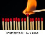 a row of matches  with one of... | Shutterstock . vector #6711865
