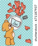 Teddy bear with love potion bottle