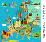 europe map with famous... | Shutterstock .eps vector #671191651