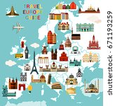 europe map with famous... | Shutterstock .eps vector #671193259