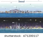 vector illustration of seoul at ... | Shutterstock .eps vector #671200117