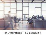 open space office interior with ... | Shutterstock . vector #671200354