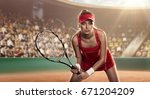 concentrated female tennis... | Shutterstock . vector #671204209