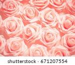 orange roses flower soft and... | Shutterstock . vector #671207554