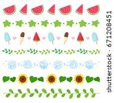 summer elements border set | Shutterstock .eps vector #671208451