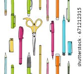 isolated set of stationery hand ...   Shutterstock .eps vector #671212315