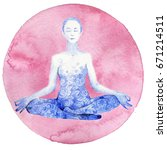 people in the lotus position | Shutterstock . vector #671214511