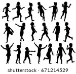 black and white set silhouettes ... | Shutterstock .eps vector #671214529