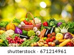 fresh vegetables and fruits... | Shutterstock . vector #671214961