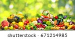 fresh vegetables and fruits... | Shutterstock . vector #671214985