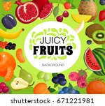 juicy tropical fruits and fresh ... | Shutterstock .eps vector #671221981