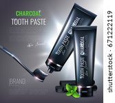 charcoal toothpaste poster... | Shutterstock .eps vector #671222119