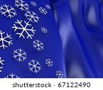 abstract 3d illustration of Christmas background with snowflakes - stock photo