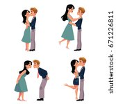 set of young couple  man and... | Shutterstock .eps vector #671226811
