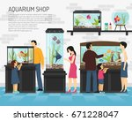 Stock vector people watching fish in big and small aquariums in pet shop flat vector illustration 671228047